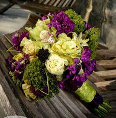 Eggplant Dresses - What color flowers? :  wedding color palette dresses eggplant flowers scheme BM Flowers