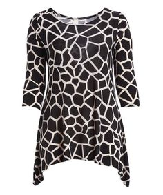 Look what I found on #zulily! Black & White Giraffe Sidetail Tunic  - Plus #zulilyfinds