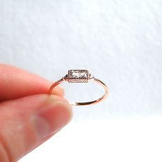 Rose Gold filled ring radiant cushion diamond by laplumeblanche
