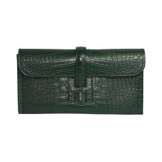 HERMES Jigé Titian green alligator | From a collection of rare vintage clutches at https://www.1stdibs.com/fashion/handbags-purses-bags/clutches/