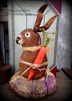 Primitive Folk Art Little Spring Rabbit Patchwork Pin Keep--Farmhouse-Vintage-Carrot-Easter-Hafair Team by MeadowForkPrims on Etsy