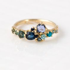 Ocean Blue Cluster Ring in 14K Yellow Gold - Zircon, Turquoise, Sapphire, Tourmaline, Cognac & White Diamonds
