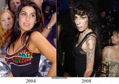 Amy Winehouse before the hardcore drugs and booze, before the anorexia, before the crappy pin-up tattoos and before Blake. And then, after. Not pictured: Dead.