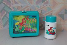 Vintage 1990s Little Mermaid Lunchbox and by OldSchoolAustin. ---I must have this. I had this exact set when I started school in 1990.