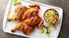 Once you go spatchcock, you never go back! Removing the backbone with scissors ensures quick, even cooking, and this chicken's spicy grilled flavor can't be beat. Super easy spatchcock chicken recipe done on the grill and ready in an hour! Corn Salad Recipes, Corn Salads, Standard Recipe, Spatchcock Chicken, Grilling Recipes, Meal Recipes, Delicious Recipes, Dinner Recipes, Chicken