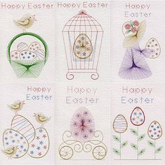 Value Pack No. 67: Easter in Easter patterns at Stitching Cards - ePatterns for paper embroidery