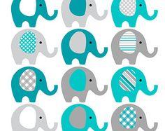 Brillante azul y gris elefante Clip Art  descargar INSTANT