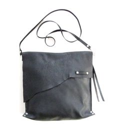 Black leather cross body bag // Rustic leather bag by LokaStudio