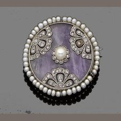 BROCHE BELLE OPOQUE 1905 CON PERLAS DIAMANTES Y AMATISTA