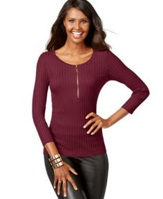 INC International Concepts Half-Zip Ribbed Sweater, Only at Macy's