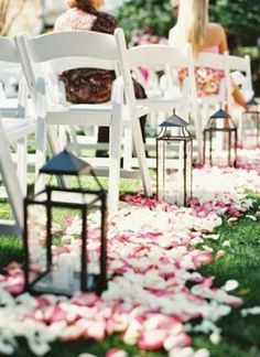 Rent lanterns for the aisle of an outdoor wedding ceremony / http://www.deerpearlflowers.com/wedding-entrance-walkway-decor-ideas/