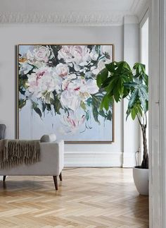 CZ Art Design - Hand painted Large Floral Oil Painting on canvas, Abstract art. @CelineZiangArt #OilPaintingInspiration