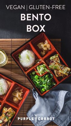 A bento box is a single-portion dinner common in Japan—you may be familiar with the compartmentalized container it's typically served in. In our miso-glazed tofu steals the show with its delicious umami flavor. A and or perfect for any night of the week. Bento Box Lunch For Adults, Japanese Bento Lunch Box, Japanese Dinner, Vegan Japanese Food, Japanese Recipes, Lunch Box Recipes, Bento Recipes, Carrot Recipes, Tofu