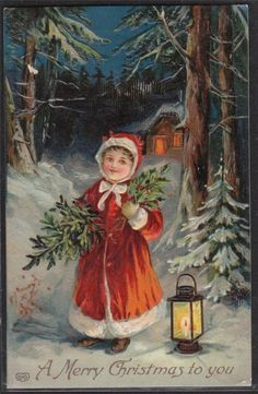 GERMAN VICTORIAN CHRISTMAS Girl Child Lantern Forest Snow EMBOSSED Postcard EAS