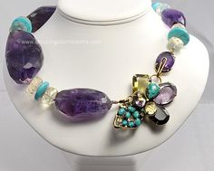 Tour de force Natural Gemstone Necklace and Pin Combo Signed IRADJ MOINI #amazingadornments