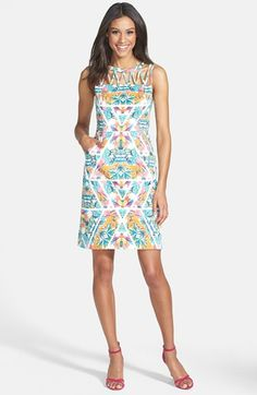 Adrianna Papell Caged Yoke Floral Print Sheath Dress available at #Nordstrom
