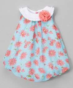 This Aqua Floral Bubble Romper - Infant is perfect! #zulilyfinds