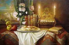 Elena Flerova -Still life with donuts-Judaica fine art oil Painting Reproduction Jewish History, Jewish Art, Oil Painting For Sale, Hand Painting Art, Jewish Celebrations, Oil Painting Reproductions, Online Art Gallery, Modern Art, Abstract Art