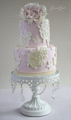 Pink Shabby Chic & Paris-themed Vintage Cake w/ a New Lace Mold by Cotton and Crumbs, via Flickr!