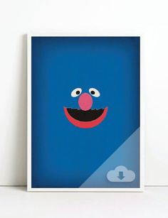 Sesame Street Character Grover Minimalist Download  by www.etsy.com/shop/TheRetroInc