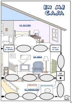 En Mi Casa printable board game... here's the pic of the other half of the house  :D -- PrintableSpanish.com --