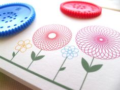 Note Cards Spirograph Flowers Set of 10 by MimosaCards on Etsy, $14.00