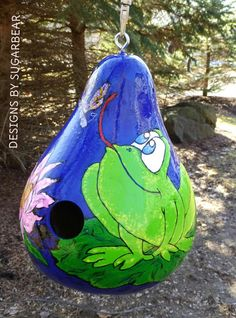 Frog and Dragonfly Hand Painted Birdhouse by DesignsbySugarbear, $53.99 on Ebay