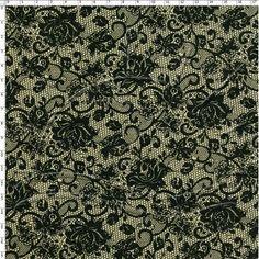 Tecido Estampado para Patchwork - Ouro Preto Renda  100% Algodão - 1,40m de largura  Fabricante:  Fabricart