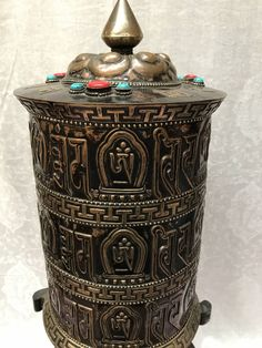 Tibetan Copper Prayer wheel by EyeOfBuddhaTreasures on Etsy https://www.etsy.com/listing/499971181/tibetan-copper-prayer-wheel