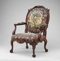 Armchair (one of four) Tapestry probably woven at Royal Manufactory Beauvais 1664-1789  Date:     ca. 1751–52 Culture:     British and Frenc...
