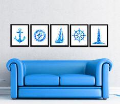 Aua blue nautical print set compass waterclolor by FluidDiamondArt