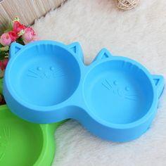 Hot Pet Produk Perlindungan Lingkungan tidak beracun Plastik Cat Wajah Pet Mangkuk Makan Hewan Peliharaan Alat Makanan Anjing Mangkuk Ganda peralatan makan