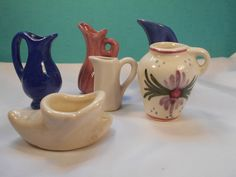 Vintage Ceramic Miniatures- 6 Piece Ceramic Miniatures - 5 Mini Pitchers, 1 Mini Shoe by Chic Pottery by SETXTreasures on Etsy