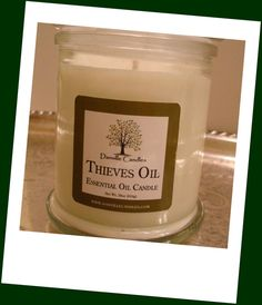Thieves Oil Aromatherapy Soy Candle Jar Home by DanvilleCandles, $24.00