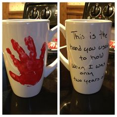 Sharpie and handprint mug. The Sharpie did start to rub off so I bought a clear coat.