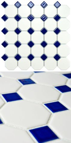 This beautiful tile has a matte white color with a glossy cobalt dot accent. This is suitable for your bathroom remodel, or in your kitchen or hallway. You can use it outdoors, too.