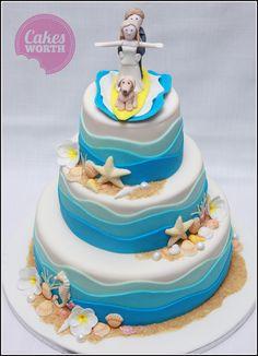 Surfing bull dog cake All edible Birthday Cakes By Jills Cake