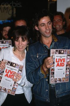 Chrissie Hynde (The Pretenders) and Bob Geldof (.The Boomtown Rats), presented poster of 'Live Aid'. Much Music, Good Music, Brenda Ann Spencer, The Boomtown Rats, Chrissie Hynde, Bob Geldof, Live Aid, The Pretenders, Band Aid