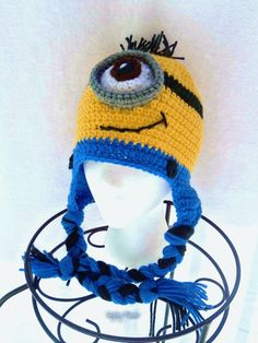 Minion Hat, Adult Minion Hat, Despicable Me Hat, One-Eyed Minion Hat, Halloween Hat, Earflap Hat, Crochet Hat, Character Hat, Funny Hat