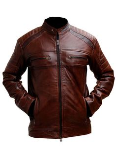 Mens Biker vintage motorcycle distressed brown cafe racer leather jacket | Clothes, Shoes & Accessories, Men's Clothing, Coats & Jackets | eBay!