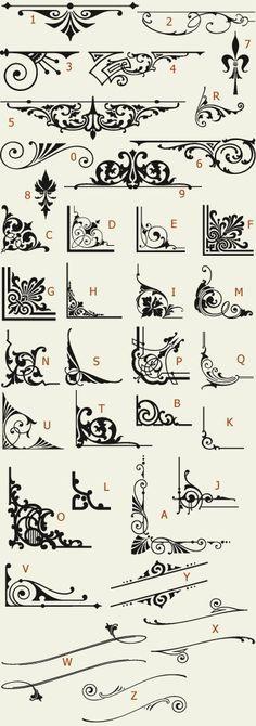 Letterhead Fonts / LHF Americana Ornaments / Golden Era Studios (For inspiration when making freehand designs. Stencils, Calligraphy Letters, Caligraphy, Penmanship, Letterhead, Pyrography, Design Elements, Doodles, Clip Art