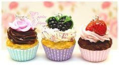 Sautoir Cupcakes en pâte polymère créé de façon artisanale par Tania Villard Hirsig