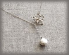 Flower Pearl Necklace  Sterling Silver by ACharmedImpression, $30.00