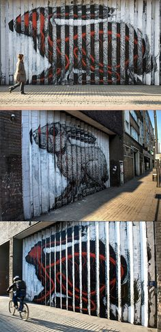 "Rabbit by ROA Here's a story about another one of ROA's rabbits. ""The building's owners had granted the artist permission to create the piece, but they have been served with a removal notice by Hackney council, warning that unless they 'remove or obliterate the graffiti' within 14 days, a council contractor will paint over the wall and charge them for the service."""