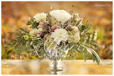 Beautiful Wedding Floral Arrangement! Silver vase with pink roses and white hydrangea.