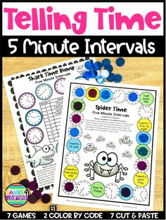 Telling Time to the 5 Minutes Games, Cut and Paste and Color by Code Telling Time Games, Telling Time Activities, Cut And Paste Worksheets, Past Tens, Minute Game, Activity Sheets, Math Classroom, Coding, Printable