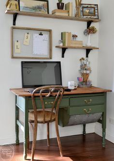 vintage home decor An antique bakers table becomes a desk by removing one of the flour drawers. Vintage modern office with open shelves and farmhouse boho vintage feel. Dark green desk with natural wood top desk via Refresh Living. Home Office Space, Home Office Design, Home Office Furniture, Home Office Decor, Office Designs, Office Ideas, Office Chic, Office Nook, Furniture Ideas
