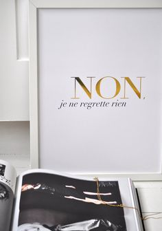 Non Je Ne Regrette Rien White Small/Gold Foil by sarahandbendrix. Available on @Etsy