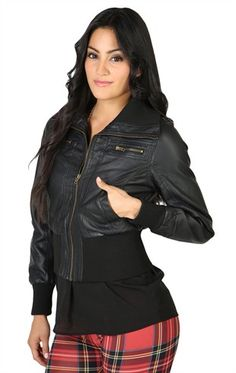 Faux Leather Jacket with Basic Zip Front and Ribbed Waistband