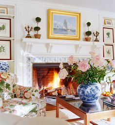 Design by Louise Brooks ~ Lovely and Livable Connecticut Home - Traditional Home ~ Love a bit of chintz, touch of blue & white, pop of green, plus a good dose of white!